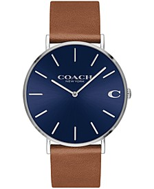 Men's Charles Created for Macy's  Saddle Leather Strap Watch 41mm