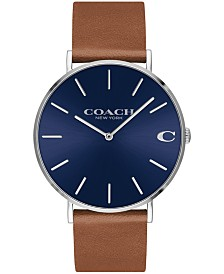 COACH Men's Charles Created for Macy's  Saddle Leather Strap Watch 41mm