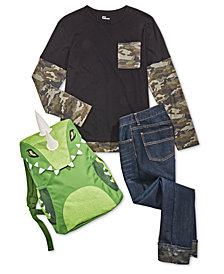 Epic Threads Little & Big Boys Camo-Print T-Shirt, Jeans & Dino Backpack Separates, Created for Macy's