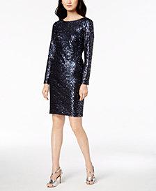 Calvin Klein Long-Sleeve Sequin Sheath Dress