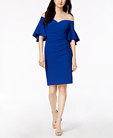 Calvin Klein Ruched Off-The-Shoulder Dress