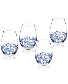 Spode Blue Italian Stemless Wine Glasses, Set of 4