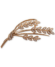 Anne Klein Gold-Tone Pavé & Imitation Pearl Wheat Pin, Created for Macy's