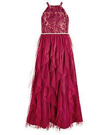 Us Angels Big Girls Lace Maxi Dress