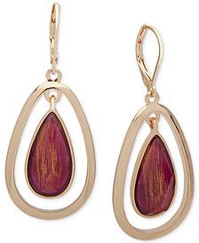 Anne Klein Gold-Tone Stone Orbital Drop Earrings
