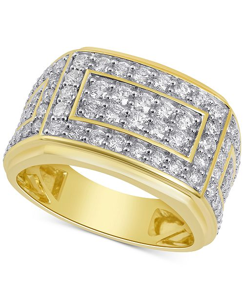 Macy S Men S Diamond Cluster Ring 2 Ct T W In 10k Gold Reviews Rings Jewelry Watches Macy S