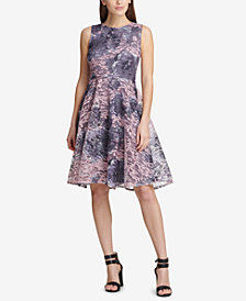 dkny printed lace fit flare dress created for macys