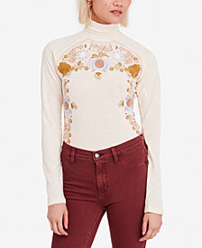 Free People Disco Rose Embroidered Turtleneck Top