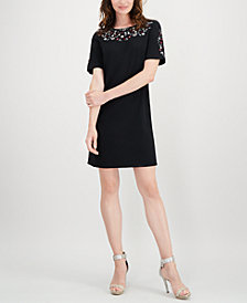 Calvin Klein Floral-Embroidered Dress