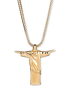"Men's Christ 24"" Pendant Necklace in 18k Gold-Plated Sterling Silver"