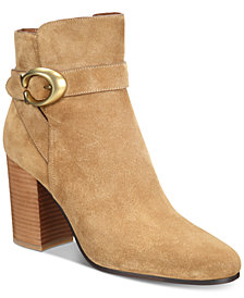 COACH Delaney Signature Stacked-Heel Booties