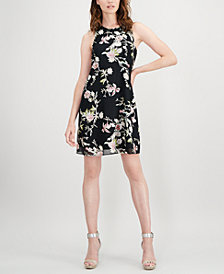 Calvin Klein Metallic Floral Trapeze Dress