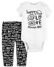 Carter's Baby Girls 2-Pc. Mommy's BFF Cotton Bodysuit & Pants Set
