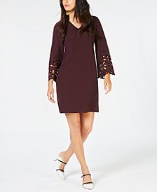 Alfani V-Neck Lasercut A-Line Dress, Created for Macy's