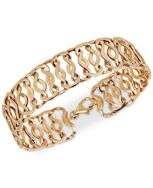 Italian Gold Openwork Fancy Link Chain Bracelet in 14k Gold