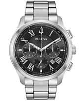 f3a25f8ea11 Bulova Men s Chronograph Wilton Stainless Steel Bracelet Watch 46.5mm