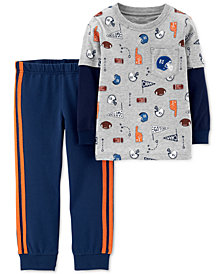 Carter's Toddler Boys 2-Pc. Layered-Look Sports T-Shirt & Jogger Set