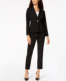 Kasper Striped Blazer & Slim-Leg Pants