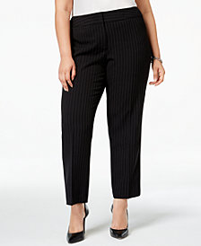 Kasper Plus Size Pinstriped Slim-Leg Pants
