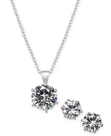 Giani Bernini 2-Pc. Cubic Zirconia Pendant Necklace & Stud Earrings Set in Sterling Silver in Recordable Light Up Box, Created for Macy's