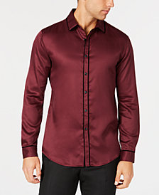 I.N.C. Men's Long Sleeve Velvet Piping Shirt, Created for Macy's