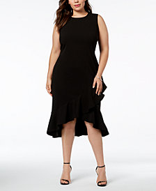 Calvin Klein Plus Size Ruffled Midi Dress