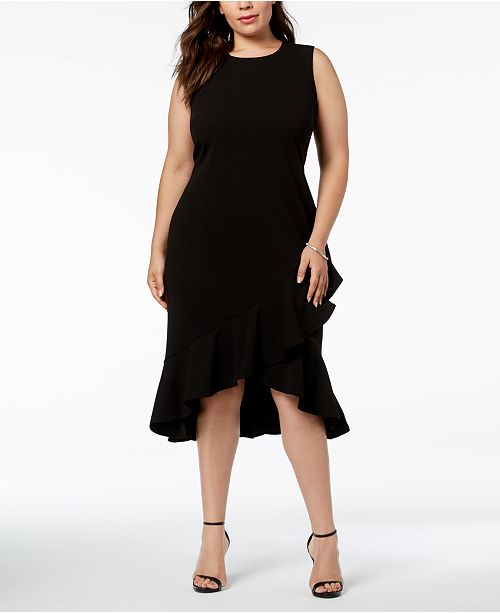 Plus Size Ruffled High-Low Midi Dress