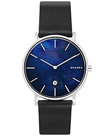 Hagen Slim Black Leather Strap Watch 40mm
