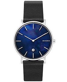 Skagen Men's Hagen Slim Black Leather Strap Watch 40mm
