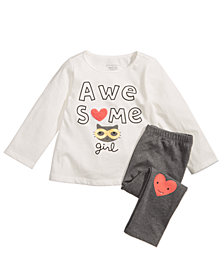 First Impressions Baby Girls Awesome-Print T-Shirt & Graphic-Print Leggings, Created for Macy's