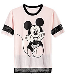 Disney Big Girls Mesh-Trim Mickey Mouse T-Shirt