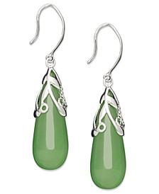 Sterling Silver Earrings, Jade Leaf Top Teardrop Earrings