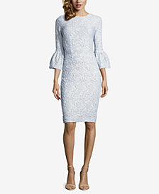 Betsy & Adam Petite Jacquard Bell-Sleeve Dress