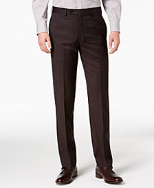 Calvin Klein Men's X-Fit Slim-Fit Stretch Brown Neat Dress Pants