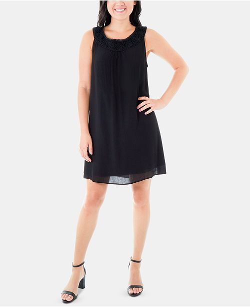 NY Collection Lace-Trim Dress
