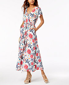 Roxy Juniors' District Nights Printed Wrap Maxi Dress