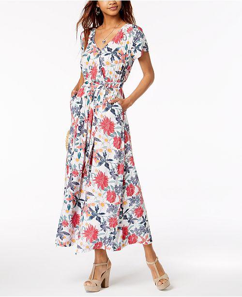 b5495af127 Roxy Juniors  District Nights Printed Wrap Maxi Dress   Reviews ...