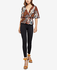 BCBGeneration Patchwork-Print Surplice Top