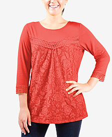 NY Collection Lace-Front Top
