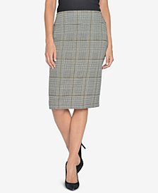 NY Collection Plaid Jacquard Knee-Length Pencil Skirt