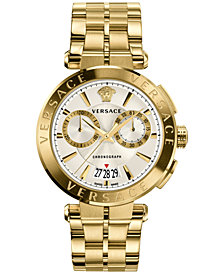Versace Men's Swiss Aion Chronograph Gold-Tone Stainless Steel Bracelet Watch 45mm