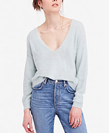 Free People Princess V Cropped Exposed-Seam Sweater