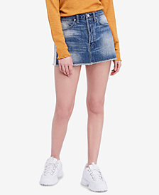 Free People Cotton Rugged Denim Mini Skirt