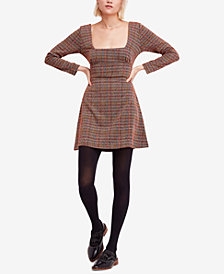 Free People Uptown Girl Plaid Mini Dress