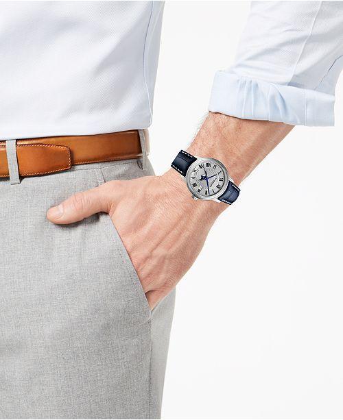 b95aa1669 ... Raymond Weil Men's Swiss Maestro Moonphase Dark Blue Leather Strap Watch  39.5 ...