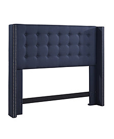 Nottingham Button Tufted Wing Headboard, King/California King, Navy