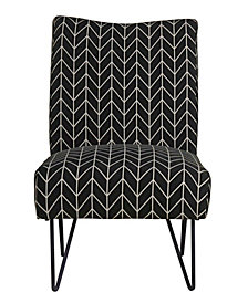Hairpin Slipper Chair, Black Chevron