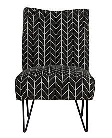 Hairpin Slipper Chair, Black Chevron
