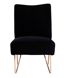 Velvet Hairpin Slipper Chair, Black