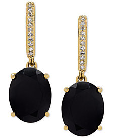 Onyx (9 x 7mm) & Diamond Accent Drop Earrings in 14k Gold